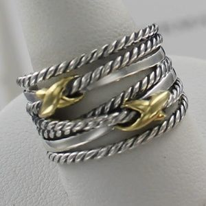David Yurman Gold Silver Double X Crossover Ring
